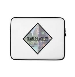Travel The World Print Zipper Closure Laptop Sleeve