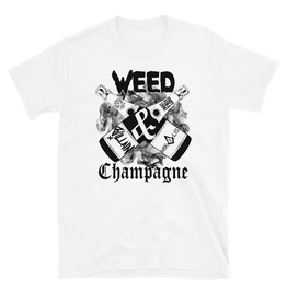 Weed & Champagne Print White Cotton T-shirt