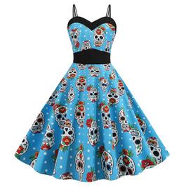 Gothic Pin-up Rockabilly Vintage Retro Spaghetti Strap Zipper Rockabilly Halloween Dress