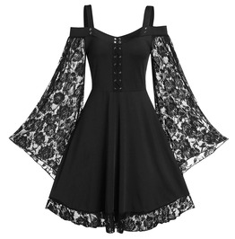 Cold Shoulder Flare Lace Sleeves Pleated Lace up Dress
