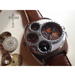 Thermometer & Compass Dual Time Steampunk Watch