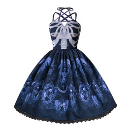 Gothic Vintage & Retro Skull Print Lace Up Halter Neck Medieval Gown