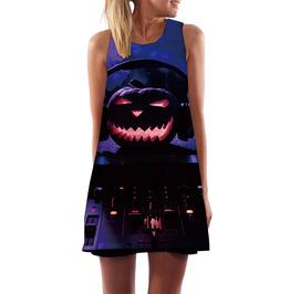 Gothic Sleeveless 3D Graphic Halloween Print Loose Mini Dress