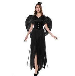 Gothic Black Lace Up Fallen Angel Costume Dress