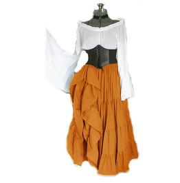 Vintage & Retro Asymmetric Flared Sleeves Ruffled Medieval Corset Maxi Dress