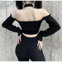 Punk Chain Halter Top Long Sleeve Navel-Shoulder Vest 22339p