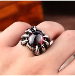Ruby dragon claw titanium stainless steel ring rings