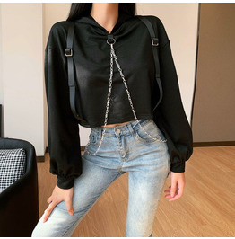 Functional Punk Metal Chain Strap Top Hoodie Autumn/winter New Sweater