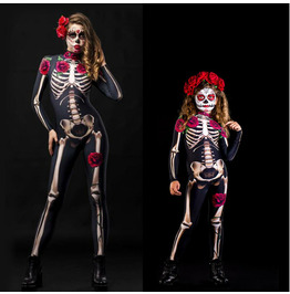 Halloween Skeleton Rose Flower Skeleton Jumpsuit Cosplay Children's Cloth
