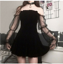 Lolita Sexy Mesh Pleated Skirt High Waist Wrapped Chest Strap Dress