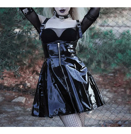 Punk PVC Dress Straps Patent Leather Women's Nightclub Sexy Short Skirt