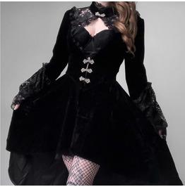 Retro Punk Autumn / Winter Gothic Lace Long Sleeve Lantern Sleeve Dress