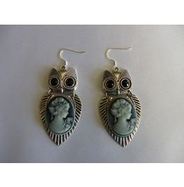 Steampunk Camero Owl 2 Pc. Silver Earrings