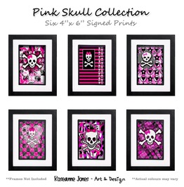 Pink Skull Collection Signed Prints Roseanne Jones