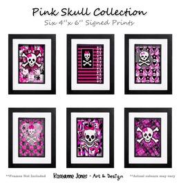 Pink Skull Collection Signed Prints Roseanne Jones