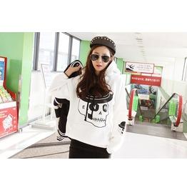 Korean Style Punk Women Skull Pattern Hoodie Coat