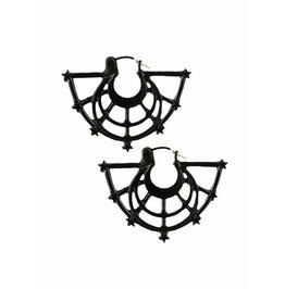Tiberio Dark Side Crescent Moon Rise Circle Web Black Metal Occult Earrings