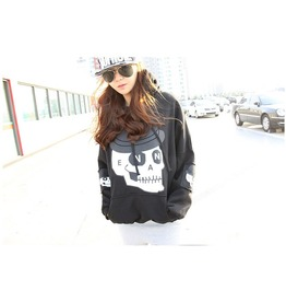Korean Style Punk Women Skull Pattern Hoodie Coat