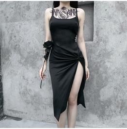 Punk Black Dress High Waist Split Pleated Dress Suspender Sexy Long Dress