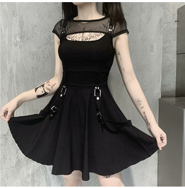 Punk Mesh Stitching Dress See-through Backless Women's Short Skirt 92009