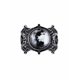Tiberio Dark Side Full Moon Phases Black Silver Metal Witch Occult Bracelet