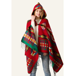 Autumn /winter Horns Buckle Ethnic Style Cape Scarf Bohemian Hooded Shawl