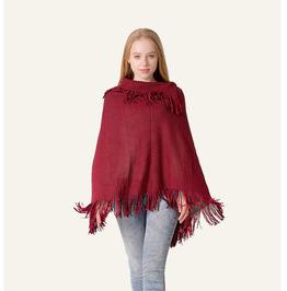 Autumn/winter Bat Sleeve Lapel Knit Sweater Tassel Knit Cape Shawl