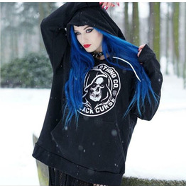 Gothic Punk Long Sleeve Hoodie Reaper Skull Loose Top