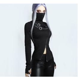 Mechanical Punk Long Sleeve T-Shirt Women's Double Zip Turtleneck Top