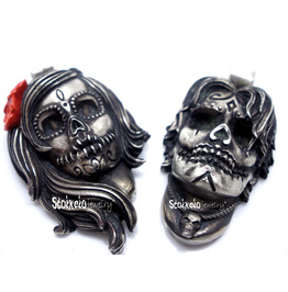 Sugar Skull Silver Pendants, Couple Necklace, Alternative Wedding Jewelry