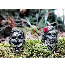Sugar Skull Silver Rings Set, Couple Rings, Alternative Wedding Rings