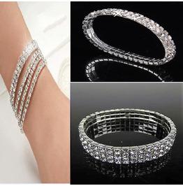 Elegant Shiny Bridal Rows Premium Crystal Rhinestone Stretchy Bracelets