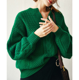 Emerald Cashmere Pullover Loose V-neck Knitted Thick Plus Size Sweater
