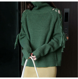Autumn High Neck Strapless Sweater Knitted Jacket