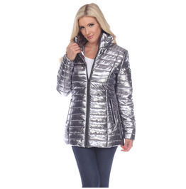 Ribbed Metallic Puffer Zipper Coat