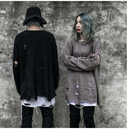 Punk Holes Sweater Loose Long-sleeved Sweater Men and Women Can Wear