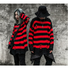 Striped Round Neck Sweater Men and Women Ripped Long-sleeved Sweater