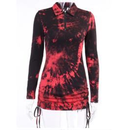 Long Sleeves Tie-dye Front Zipper Black Red Bodycon Dress