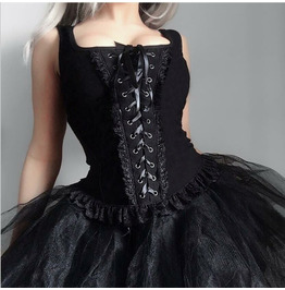 Lace-up Zipper Suspender Square Neck Knitted Lace Evening Dress Top