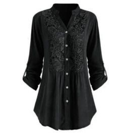 Button up Sleeves Embroidered Black Top