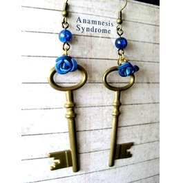 Blue Tardis Key Steampunk Earrings