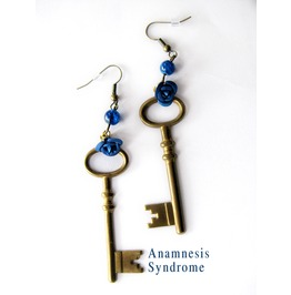 Blue Tardis Key Steampunk Earrings, Brass And Blue