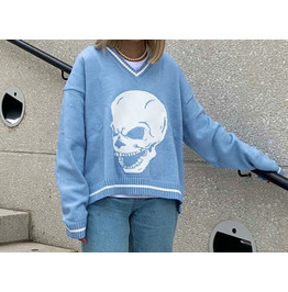 Autumn Hip-hop Skull Print V-neck Sweater