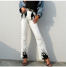 Punk Fall/winter Women's Flame Print Slim Flared Pants