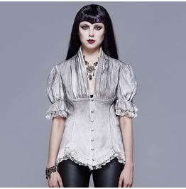 Gothic Puff Sleeves Asymmetric Hem Top