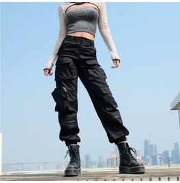 Hip-hop Hip-hop Zipper Drawstring Pants Multi-pocket Overalls