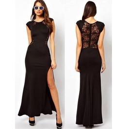 Full Length Black/Red Formal Lace Dress Sheer Back Side Slit Plus Sizes