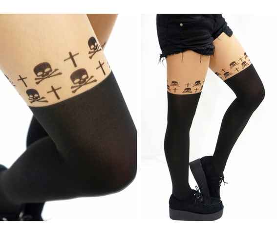 33ad116a2a2 Skull Cross Goth Mock Thigh High Tights  Pantyhose