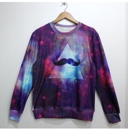 Galaxy Style Mustache Pattern Fashion Hoodie