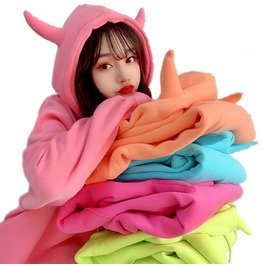 Colorful Hoodie With Horns